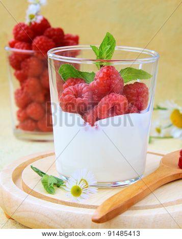 Dairy dessert - yogurt with fresh ripe red raspberries
