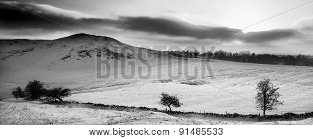 Stunning Winter Panoramic Landscape Snow Covered Countryside In Black And White