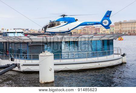 Floating Helipad On The Neva River