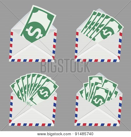 Set Of White Envelope With Money Inside