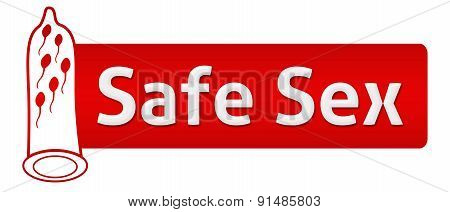 Safe Sex Red With Condom Shape