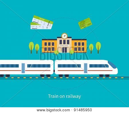 Railway station concept. Train on railway.