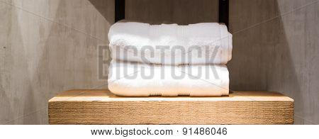 White Towels On Shelf