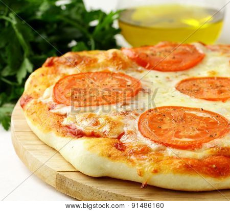 Traditional Italian food  pizza with tomato sauce and cheese