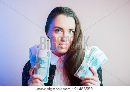 Businesswoman portrait, sexy businesswoman with cash