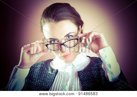 Businesswoman portrait, sexy businesswoman with eyeglasses