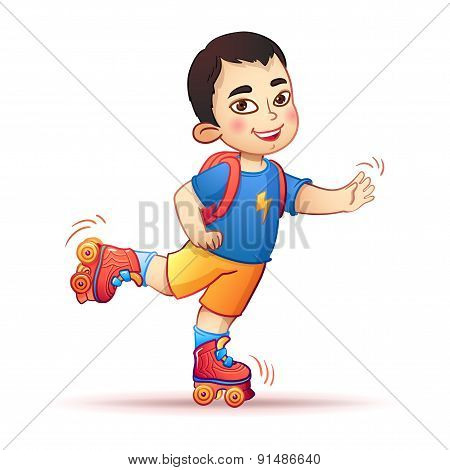 Little asian boy riding on roller skates. Happy child enjoys the speed and freedom