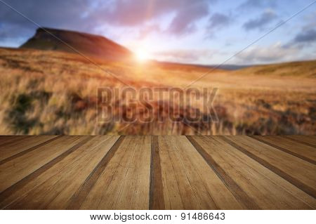 Pen-y-ghent Yorkshire Dales National Park Autumn Sunset Evening With Wooden Planks Floor