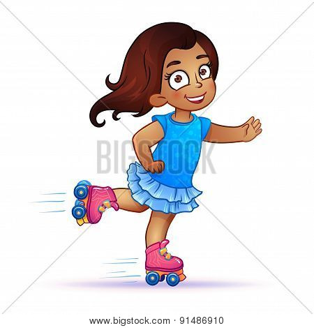 Little girl Latina rides on roller skates