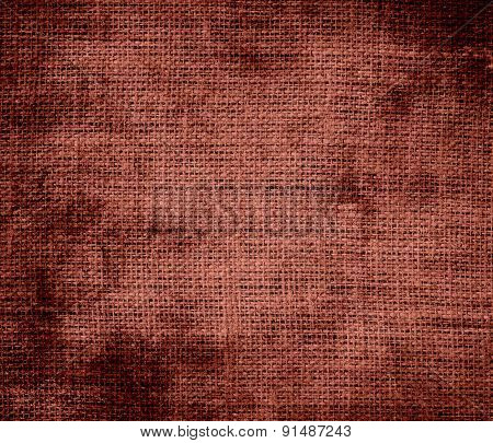 Grunge background of chestnut burlap texture