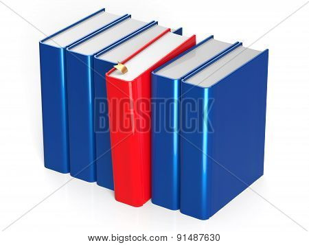 Books Row Blank Blue One Selected Red Take Answer Icon
