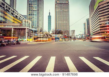traffic blur motion in modern street