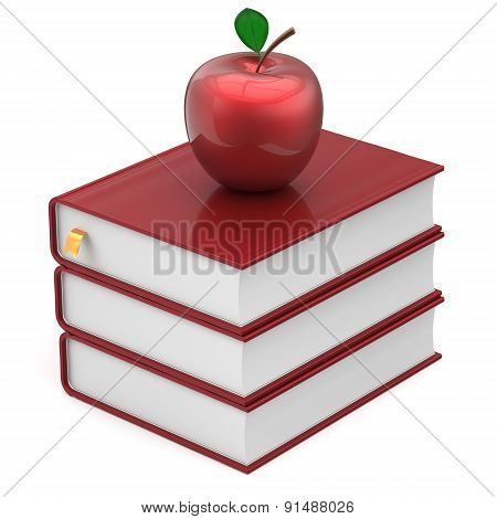 Red Books And Apple Index Blank Textbooks Stack Icon