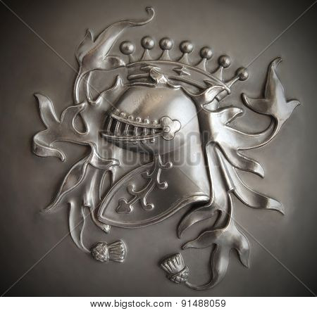 Bas-relief Knight's Crest With A Dark Vignette
