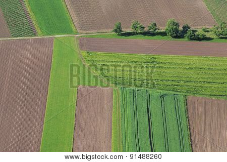 Cultivated Field From Above. Aerial View Of Meadows And Cultivated Fields. Birds View. Arable Land.