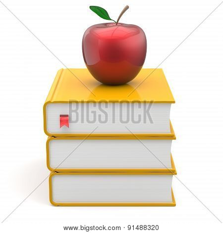 Yellow Books Red Apple Index Textbooks Stack Education Icon