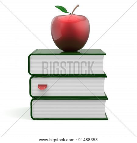 Books Green Apple Red Index Blank Textbooks Stack Icon