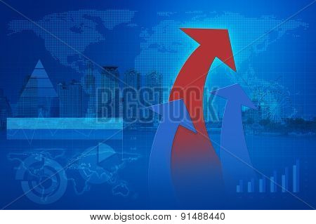 Arrow Head With Financial Chart And Graphs, Elements Of This Image Furnished By Nasa