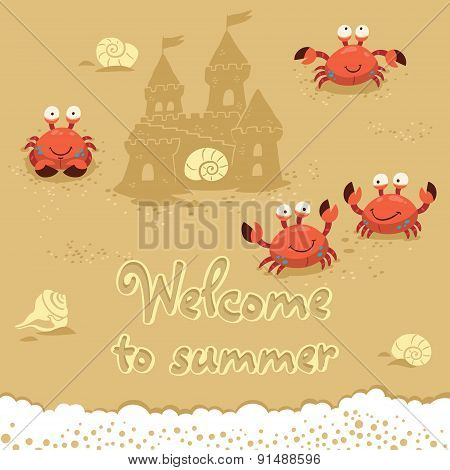 Vector cute Illustration of crabs and lettering on the sand. Welcome to summer
