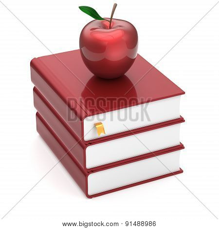Blank Books Red Apple Index Blank Textbooks Stack Icon