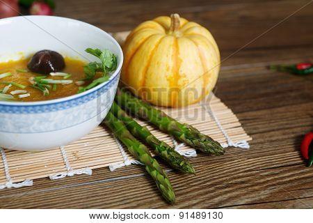 Pumpkin soup macro photo