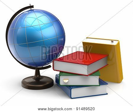 Globe Blank Colorful Book Textbooks Literature Studying Icon
