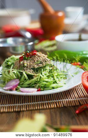 Asian type cucumber salad.