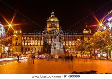 Night View On Wenceslav Square In Prague, Czech Republic