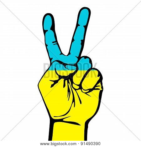 Peace Sign Of The Ukrainian Flag
