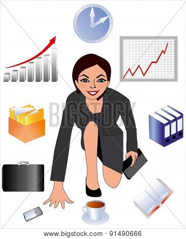 the woman at work, the employee of office