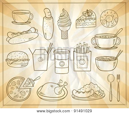 Assorted food and drinks graphic symbols set, vintage style