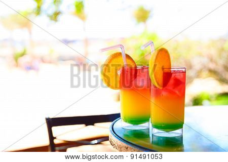 Two Bocals Of Colorful Cocktail
