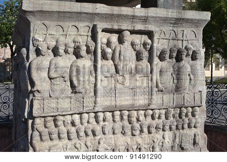 Fragment of the pedestal of the obelisk of Theodosius (Egyptian Obelisk). Istanbul. Turkey.