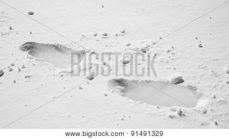 Foot Print On Snow