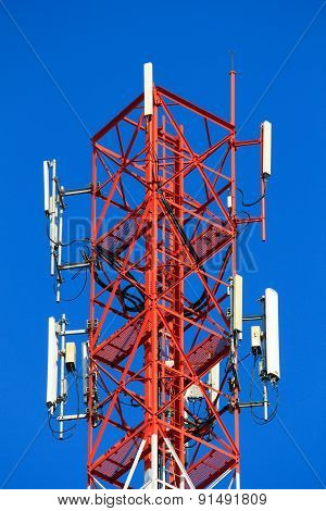 Telephone Pole Telecommunications Tower On Blue Sky Background