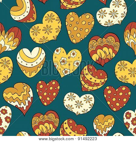 seamless pattern with colorful hearts. vector for valentines day