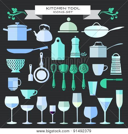 Kitchenware And Restaurant , Glassware Icons Set