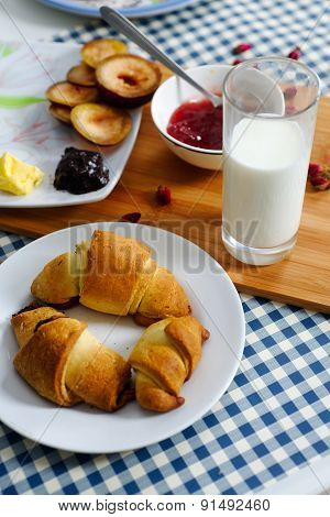 Croissants With Glass Of Milk