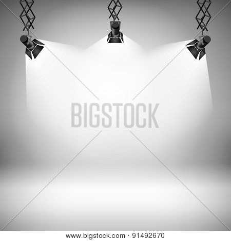 Spot Light Abstract Club Gallery Theater Interior 3D Realistic Background Vector Illustration