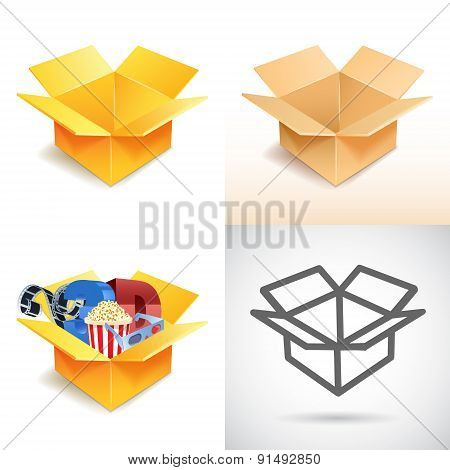 Cardboard box icons set