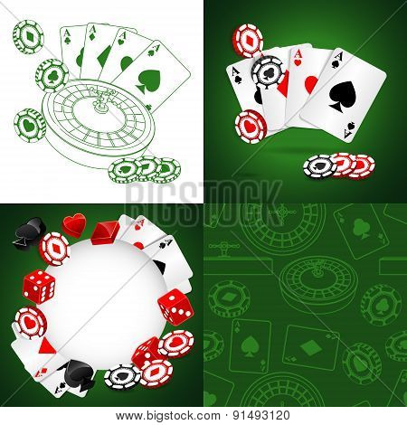 Roulette Vector Casino Backgrounds set