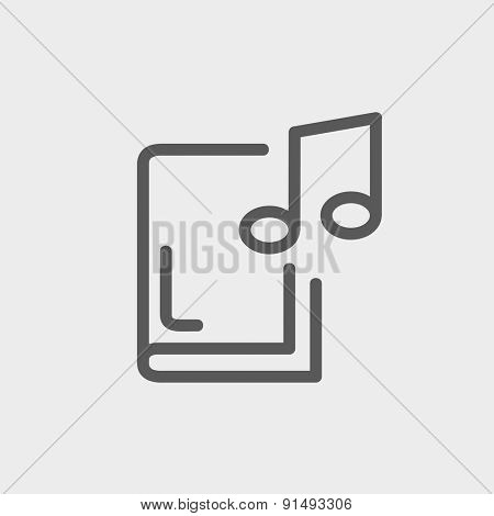 Music book icon thin line for web and mobile, modern minimalistic flat design. Vector dark grey icon on light grey background.