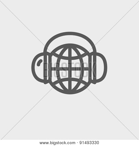 World music icon thin line for web and mobile, modern minimalistic flat design. Vector dark grey icon on light grey background.