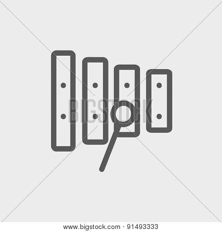 Xylophone with mallets icon thin line for web and mobile, modern minimalistic flat design. Vector dark grey icon on light grey background.