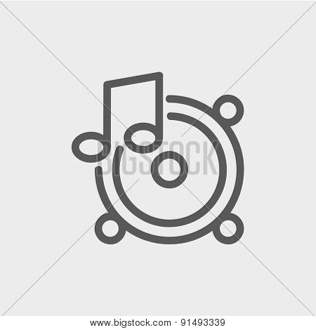 Music tambourine icon thin line for web and mobile, modern minimalistic flat design. Vector dark grey icon on light grey background.