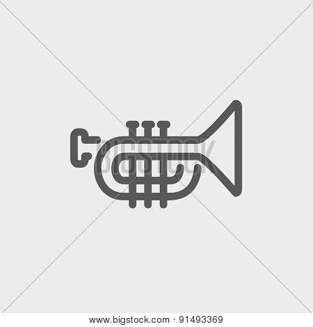 Trumpet icon thin line for web and mobile, modern minimalistic flat design. Vector dark grey icon on light grey background.