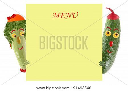 Creative Food Concept. Funny Little Zucchini And Cucumber Look  And Smile With Sample Text.