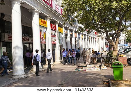 people at Connaught Place in Delhi