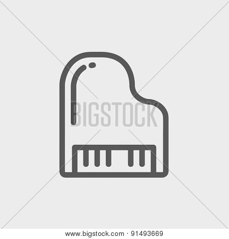 Piano icon thin line for web and mobile, modern minimalistic flat design. Vector dark grey icon on light grey background.