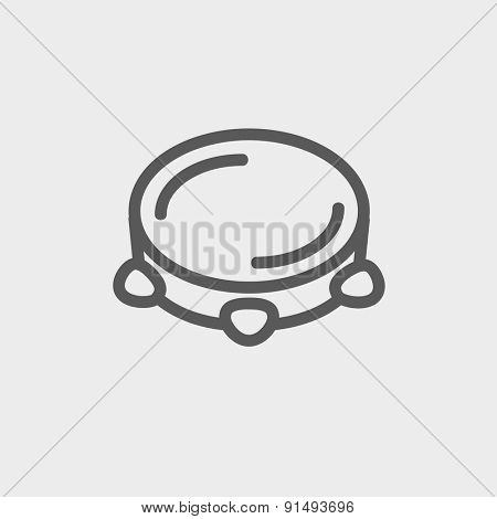 Tambourine icon thin line for web and mobile, modern minimalistic flat design. Vector dark grey icon on light grey background.